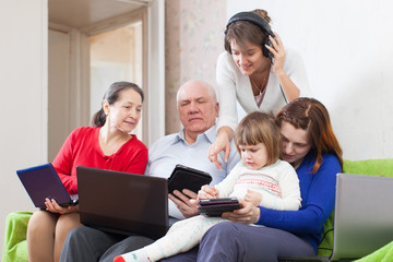 family of with few various portable computers