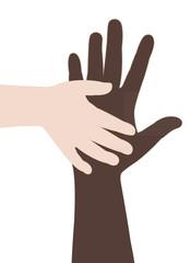 two hands, helping hands vector