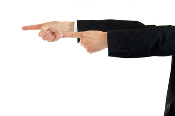 Businessman pointing with both hands