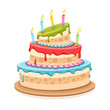 Sweet birthday cake with candles - eps10 vector illustration
