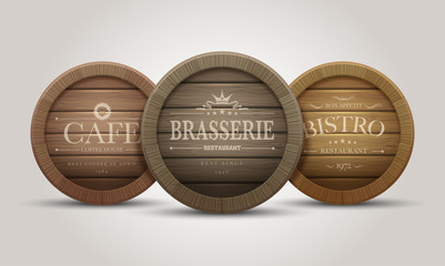 Wooden barrel signboards