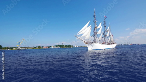 HD - Beautiful white Sailboat. Wide angle view