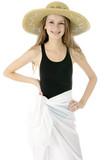 Teenager in Badeanzug mit Pareo und Hut poster