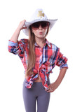 Young cowgirl in sunglasses