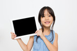 Happy Asian child with tablet computer poster