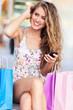 Woman having a break from shopping