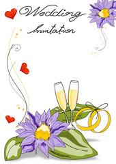 Einladung Karte Hochzeit mit Blumen