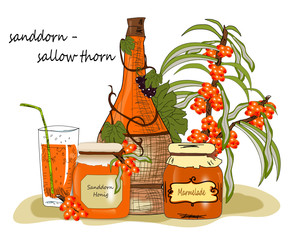 Sanddorn Honig, Marmelade, Wein Illustration