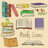 Set of isolated books icons