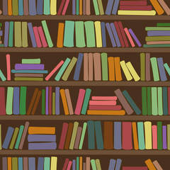 Seamless pattern of bookshelf with books