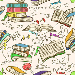 Doodle seamless pattern of books and children's scribbles