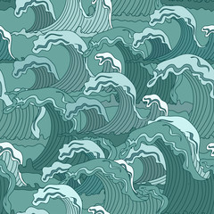 Waves of ocean seamless pattern