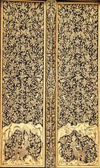 Ancient Traditional Thai Style Painting on the Door