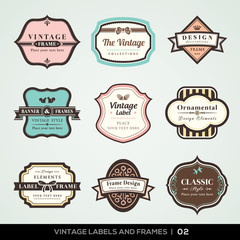 Vintage labels and frames