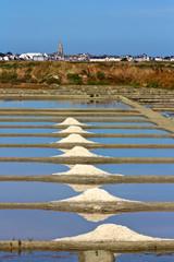 marais salants avec gros sel à Guérande et paludier