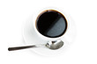 coffee cup and spoon on white background