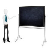 3d man teacher with blackboard