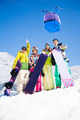 Snowboard mates on ski resort