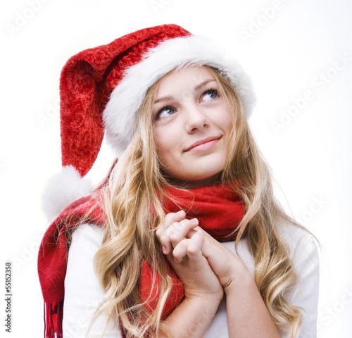 Mädchen mit Nikolausmütze