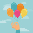 Vector hand holding balloons - greeting card