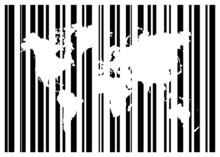 Zakupy Kod kreskowy Z Mapy świata
