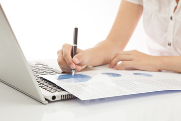 woman hand on laptop