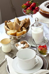 Petit déjeuner, brunch, repas, café, pain, fruits, aliment