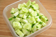 Healthy Cucumbers in a Square Bowl