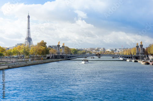 panoramic view of autumn Seine river with Eiffel Tower with Alex
