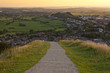 Walking down from the Glastonbury Tor at Sunset