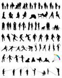 Big collection of people silhouettes, vector illustration