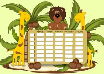 Erster Schultag, Stundenplan Illustration