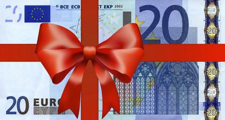 20 Euroschein mit breiten Geschenkband