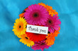 Thank you card with colorful gerbera daisies