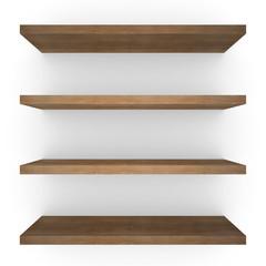 Four wood shelfs