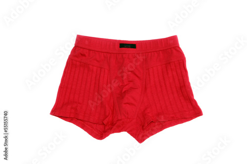 Red men's underwear (boxers) on a white background