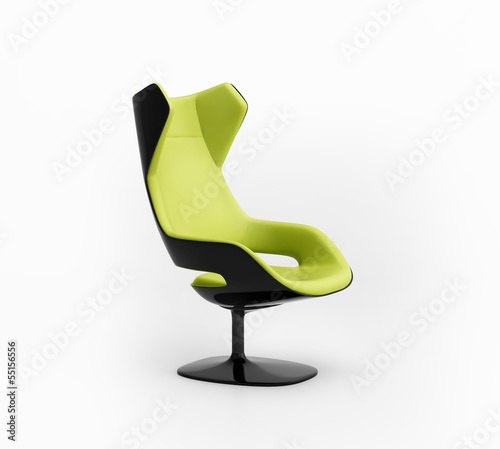 Isolated futuristic modern contemporary lime armchair