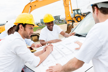 Group of civil engineers working