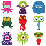 Fototapety Set of funny cartoon monsters isolated on white