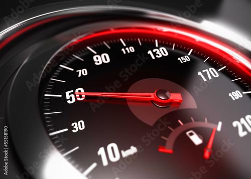 Leinwandbild Motiv Reducing Speed Safe Driving Concept - 50 Km h