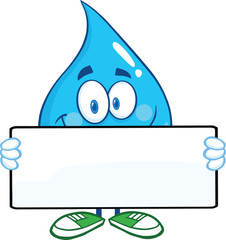 Water Drop Cartoon Mascot Character Holding A Banner