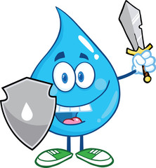 Water Drop Cartoon Mascot Guarder With Shield And Sword