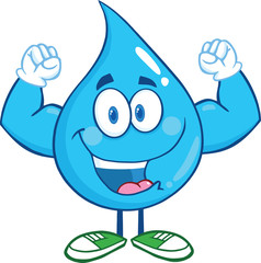 Water Drop Cartoon Mascot Character Showing Muscle Arms