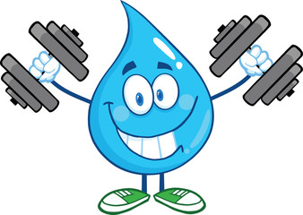 Smiling Water Drop Cartoon Character Training With Dumbbells