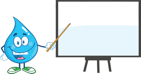 Water Drop Character With Pointer Presenting On A Board