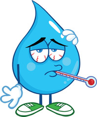 Sick Water Drop Character With Thermometer