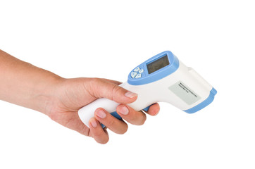 Hand hold a non-contact IR thermometer