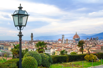 Florence aerial cityscape. Panorama view from Michelangelo park