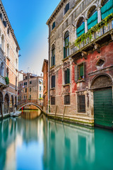 Venice cityscape, water canal, bridge and buildings. Italy © stevanzz