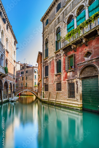 Fototapety, obrazy : Venice cityscape, water canal, bridge and buildings. Italy